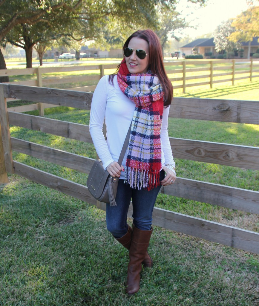 Winter Outfit Idea - Blanket Scarf and Riding Boots | Lady in Violet