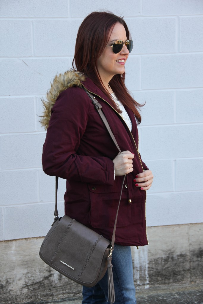 Elaine Turner Crossbody Bag and Parka Coat | Lady in Violet