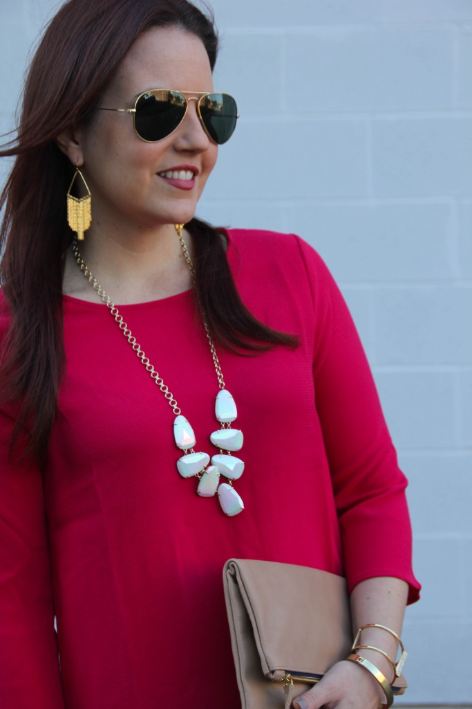 Gold Fringe Earrings and Kendra Scott Harlie Necklace | Lady in Violet
