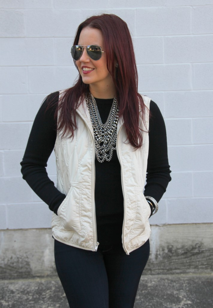 Quilted Vest with Ribbed Wool Sweater and Courtney Bib   Lady in Violet