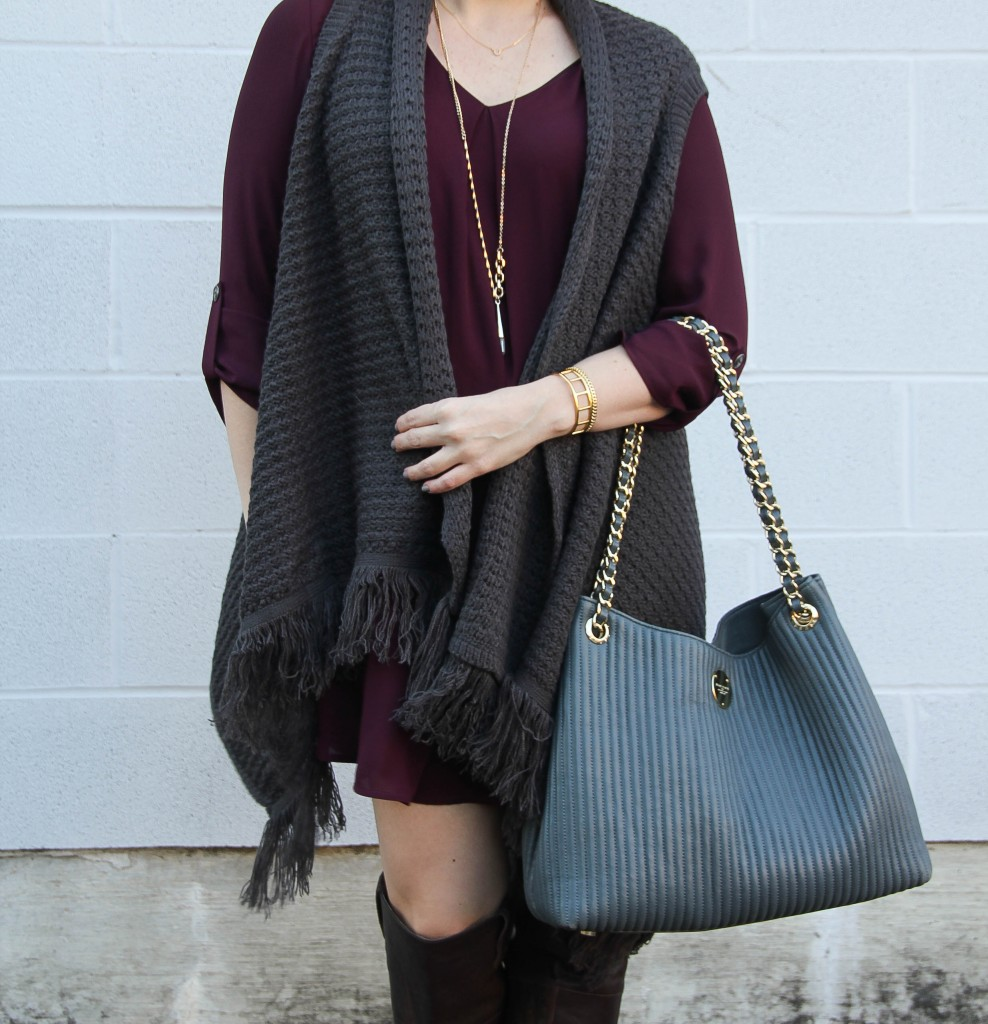 Sweater Vest and Swing Dress with Gray Tote | Lady in Violet