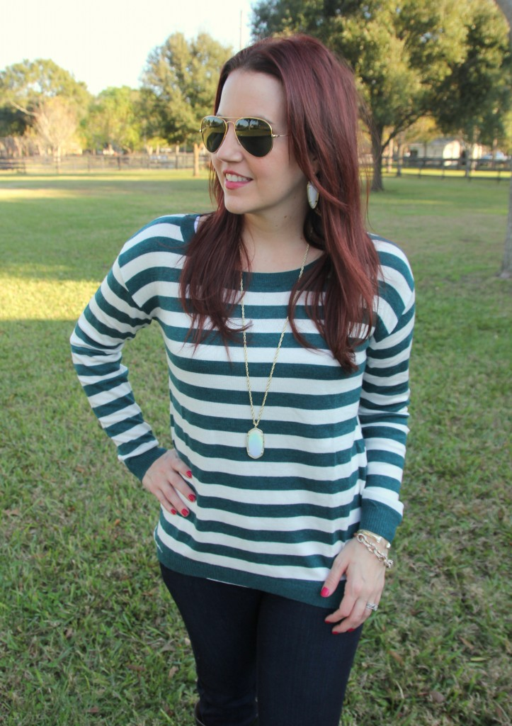 Teal Striped Sweater and Kendra Scott Rae Necklace | Lady in Violet