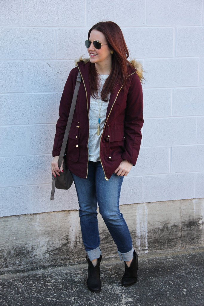 Casual Winter Outfit Idea - Coat, Jeans, Booties | Lady in Violet