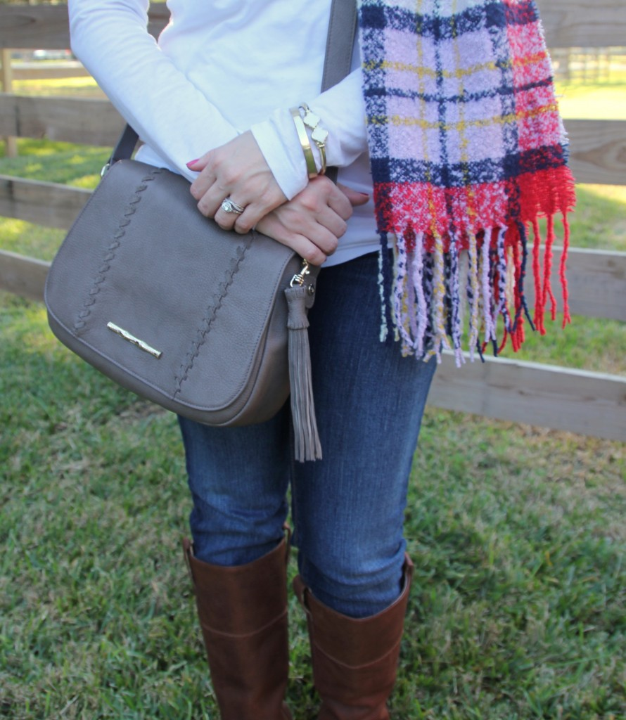 Fall Outfit - Boots, Scarf, and Jeans | Lady in Violet