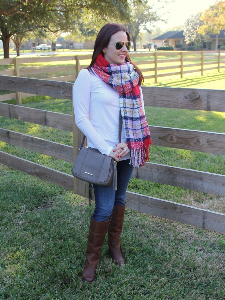 Fall Casual Weekend Outfit - Scarf, White Tee, Jeans, Riding Boots | Lady in Violet