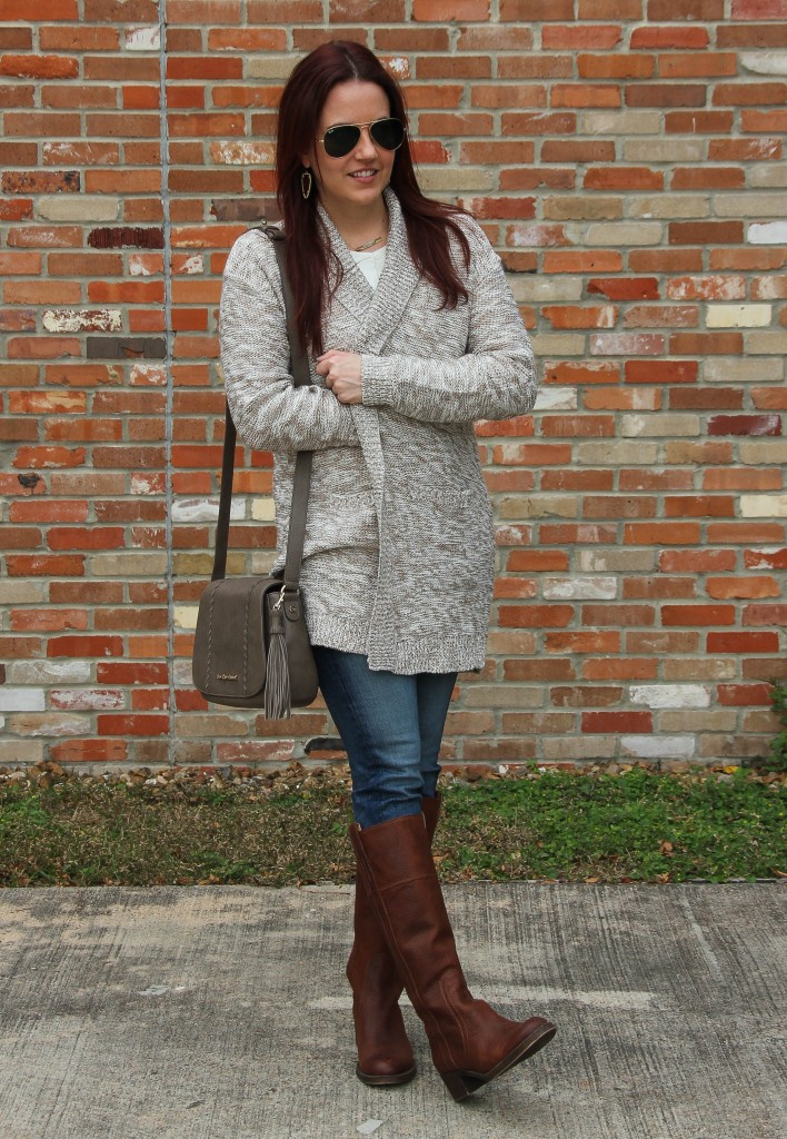 Fall Outfit - Long Cardigan and Blue Skinny Jeans with boots | Lady in Violet
