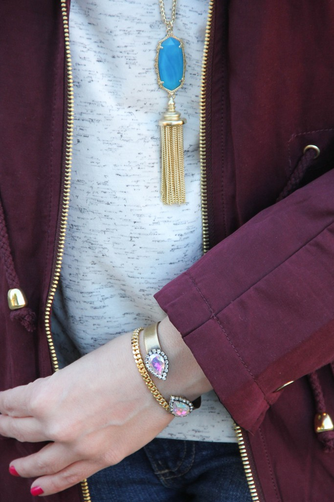 Kendra Scott Necklace and Loren Hope Sarra Cuff | Lady in Violet