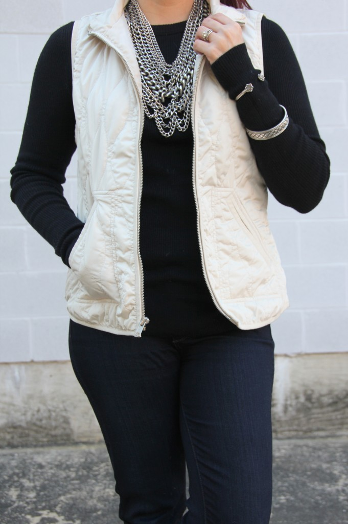 Quilted Vest over J.Crew Black Sweater   Lady in Violet