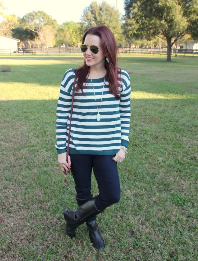 Winter Outfit Idea - Striped Sweater and Skinny jeans | Lady in Violet