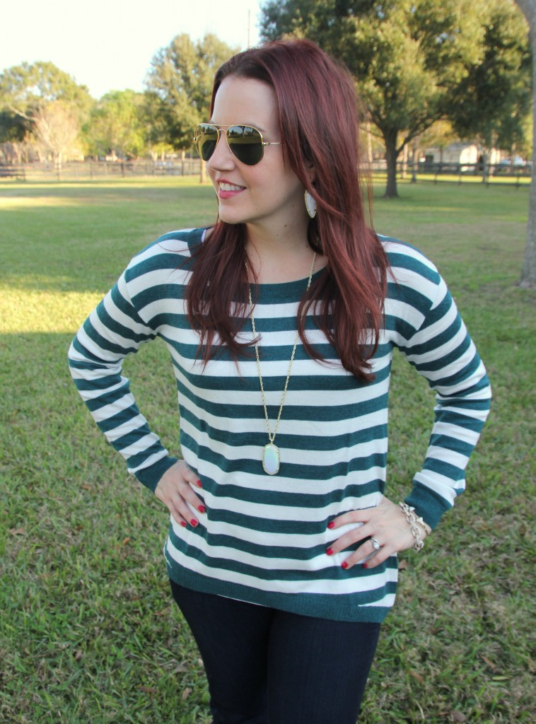 Teal Striped Sweater and Gold Jewelry | Lady in Violet