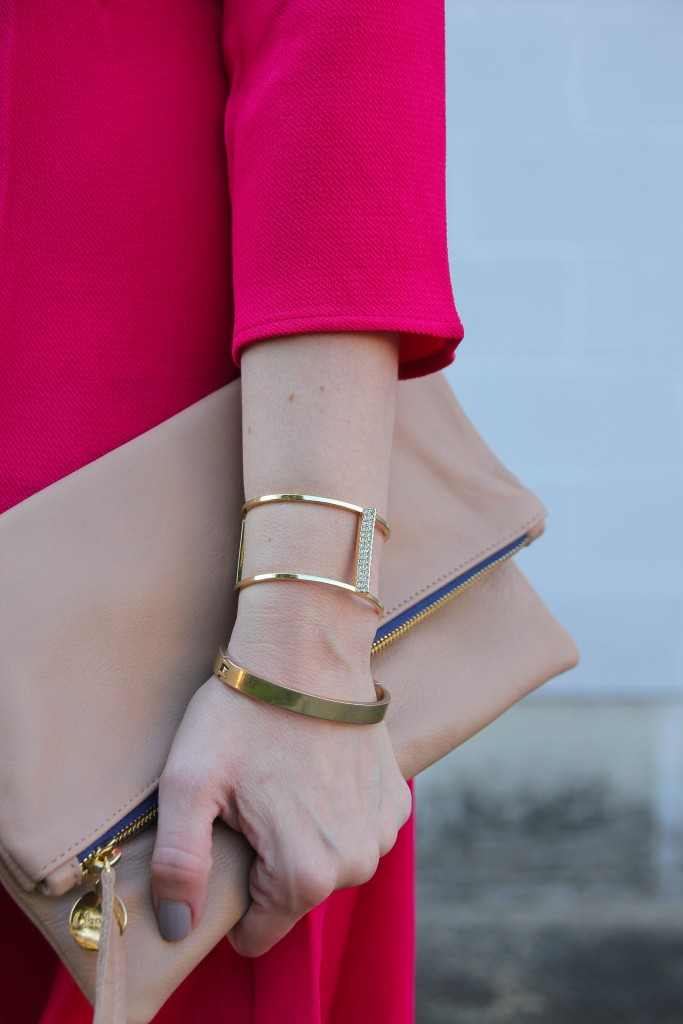 Baublebar Bracelets and ClareV Foldover Clutch   Lady in Violet
