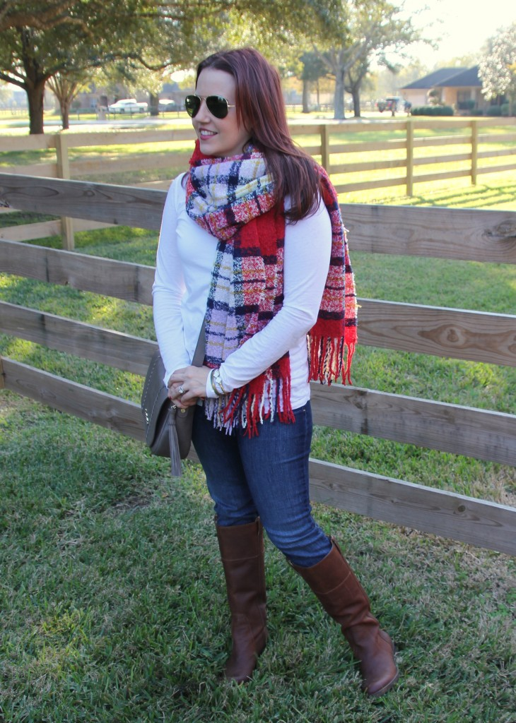 Winter Outfit - Scarf, Long Sleeve Tee, Denim and Brown Boots | Lady in Violet