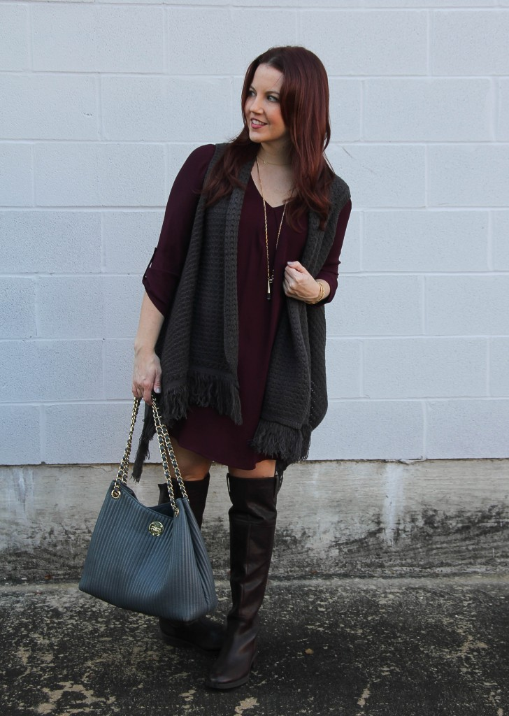 Casual Weekend Outfit - Over the Knee Boots and Dress | Lady in Violet
