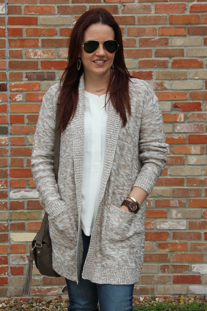 Layering a fall outfit - Long Cardigan and Tank Top | Lady in Violet
