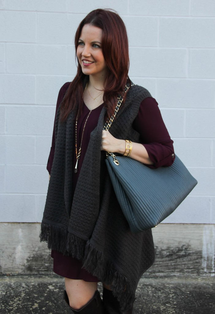 Lush Karly Dress with Gray Sweater Vest | Lady in Violet