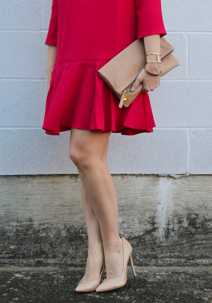 Pink Ruffle Trim Shift Dress and Blush Heels | Lady in Violet