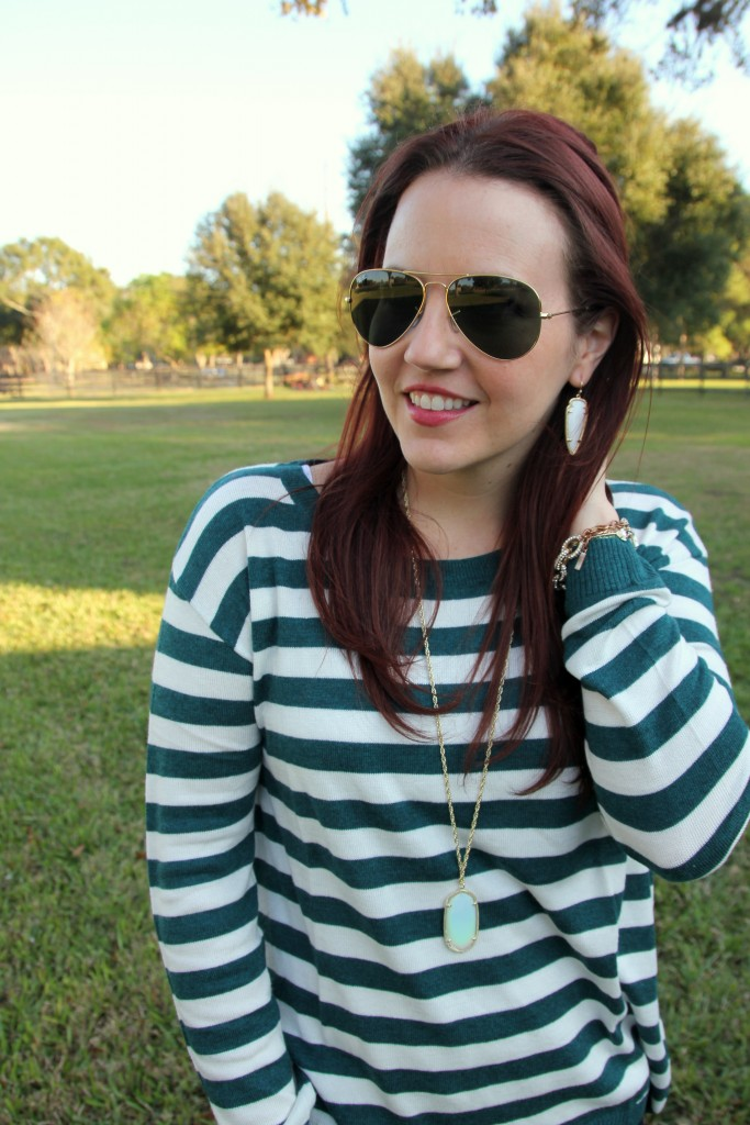 Striped Sweater with Kendra Scott necklace and skylar earrings | Lady in Violet
