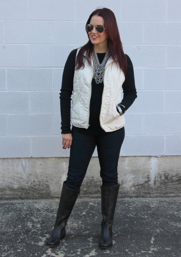 Winter Outfit Idea - Boots, Vest, Sweater | Lady in Violet