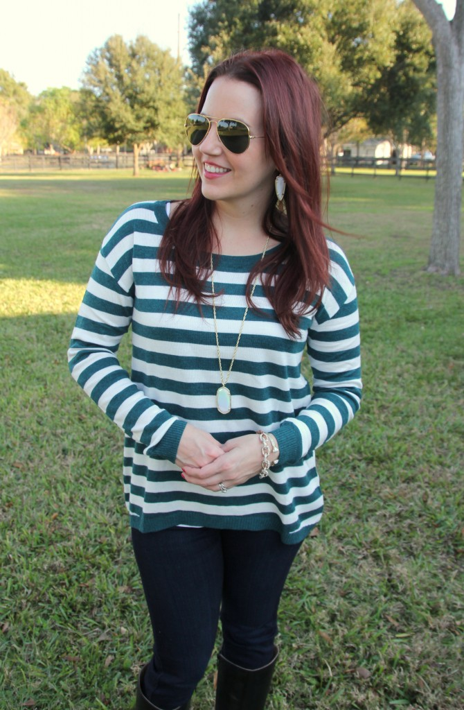 Nordstrom striped sweater and paige dark denim | Lady in Violet