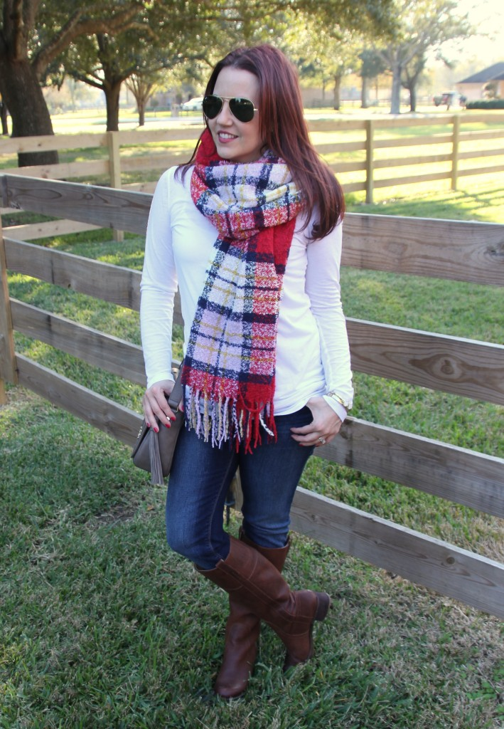 Weekend Outfit - Scarf, Tee, and Boots | Lady in Violet