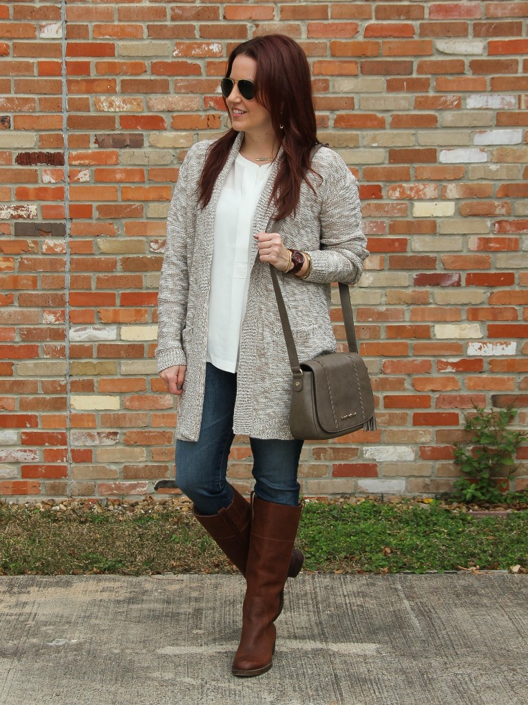 Casual Weekend Outfit with Cardigan, Jeans, boots | Lady in Violet