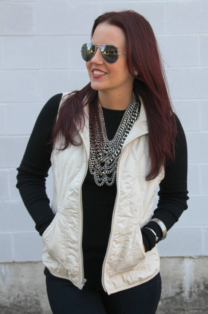 Winter Fashion - Black Sweater and Quilted Vest   Lady in Violet