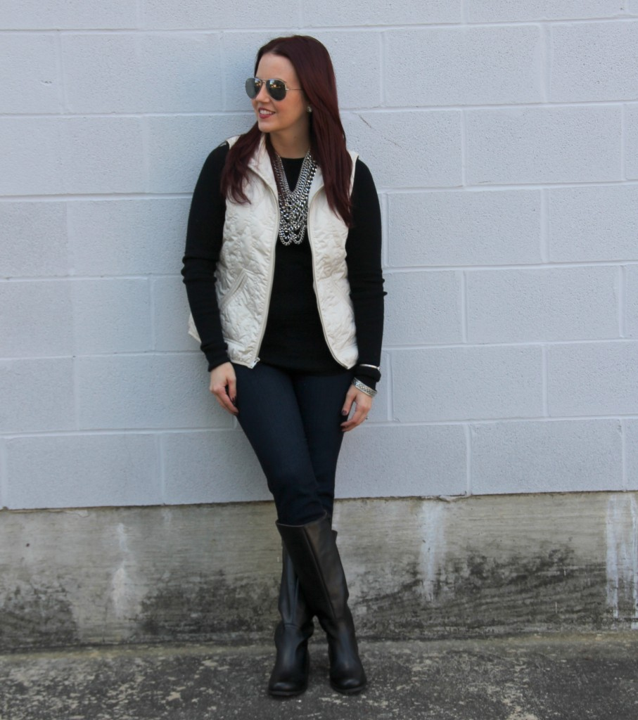 Winter Outfit Inspiration - Vest, Sweater, skinny Jeans, Riding Boots | Lady in Violet