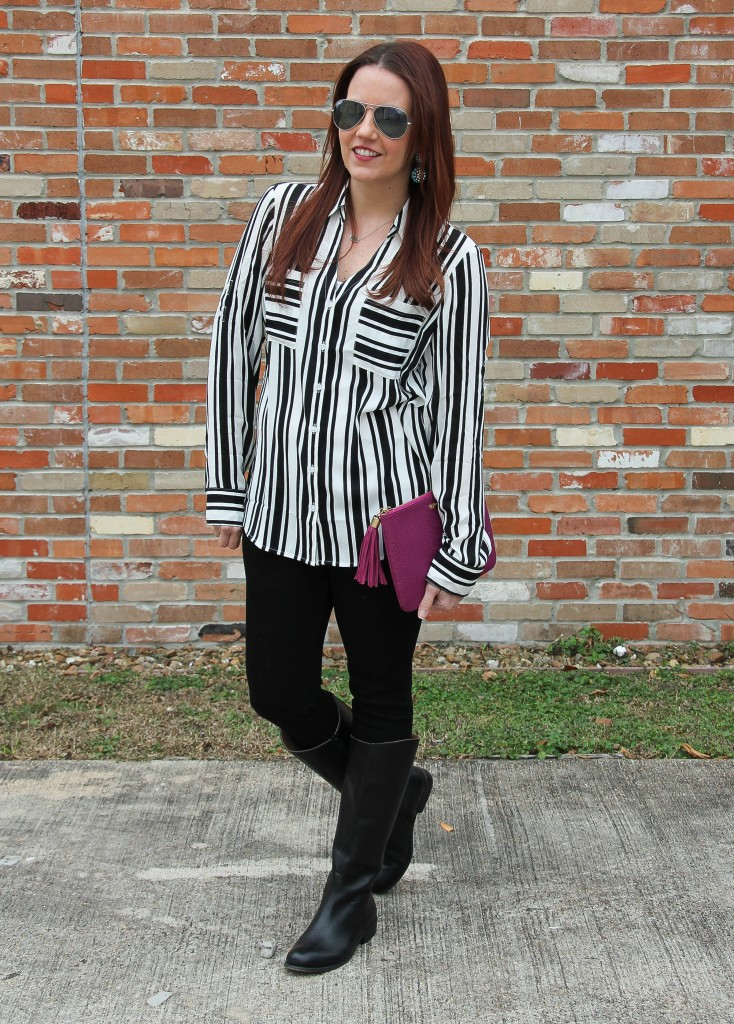 Casual Friday Outfit - Striped Blouse and Black Denim | Lady in Violet