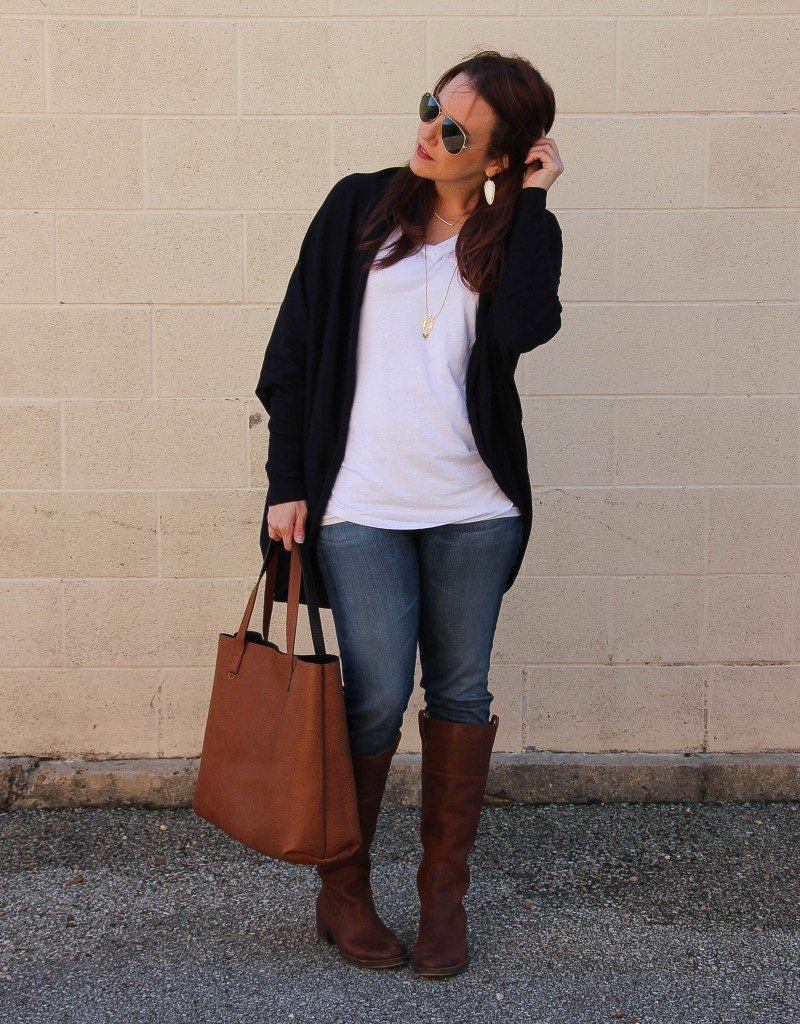Winter Outfit - Cocoon Cardigan and Jeans | Lady in Violet