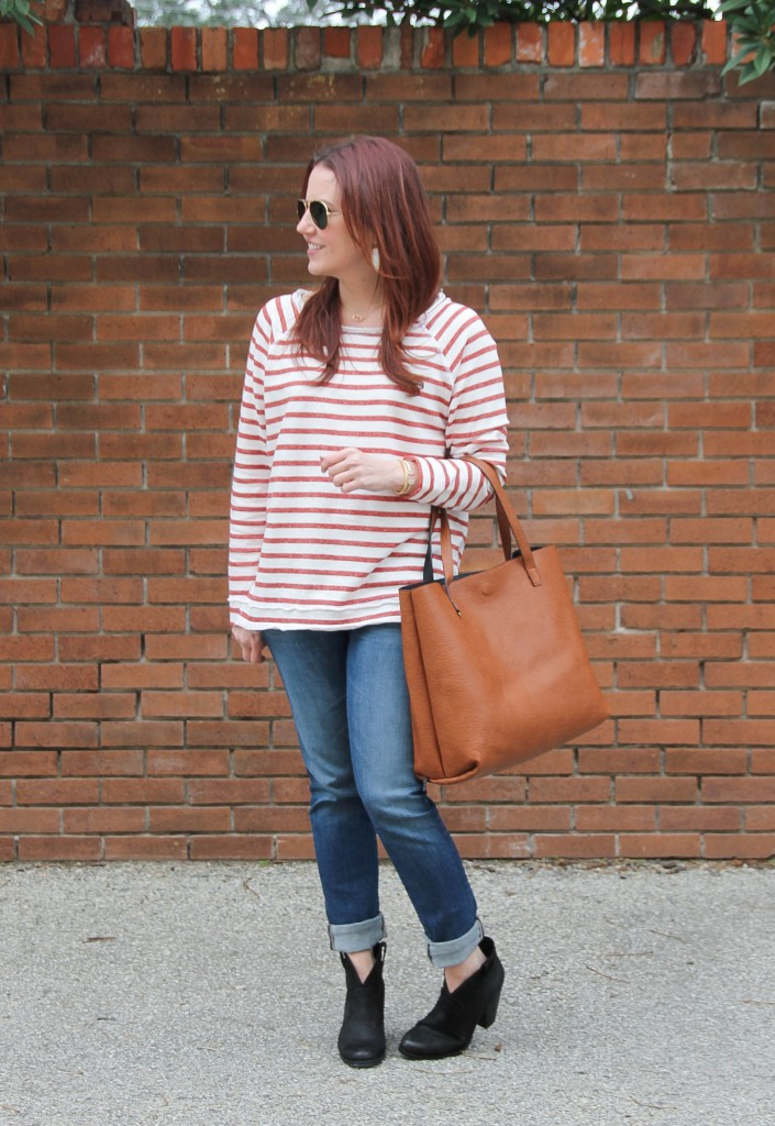 Winter Outfit - Striped Sweater and Cuffed Jeans | Lady in Violet