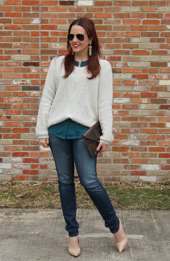Winter outfit - sweater, jeans and heels | Lady in Violet