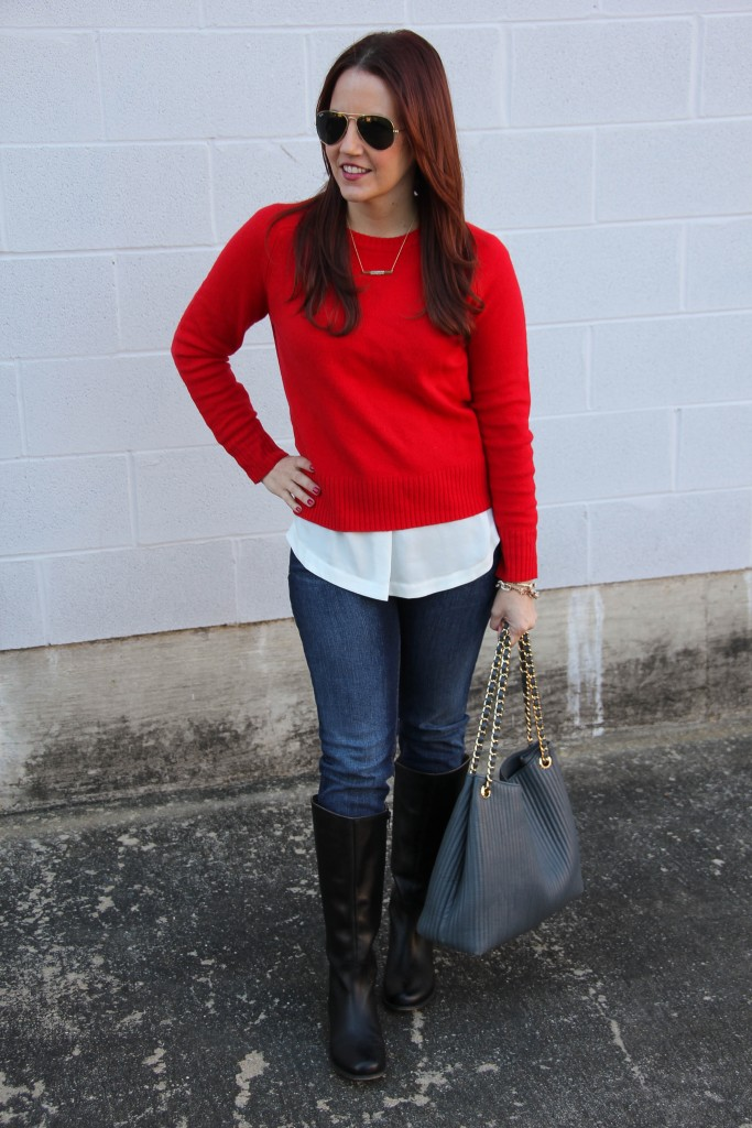Winter Outfit Idea - Sweater and Riding Boots | Lady in Violet