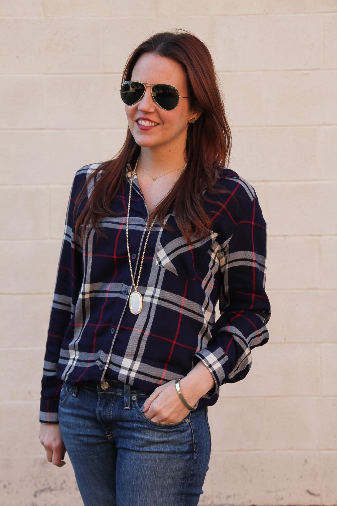 Navy plaid shirt with Kendra Scott necklace | Lady in Violet