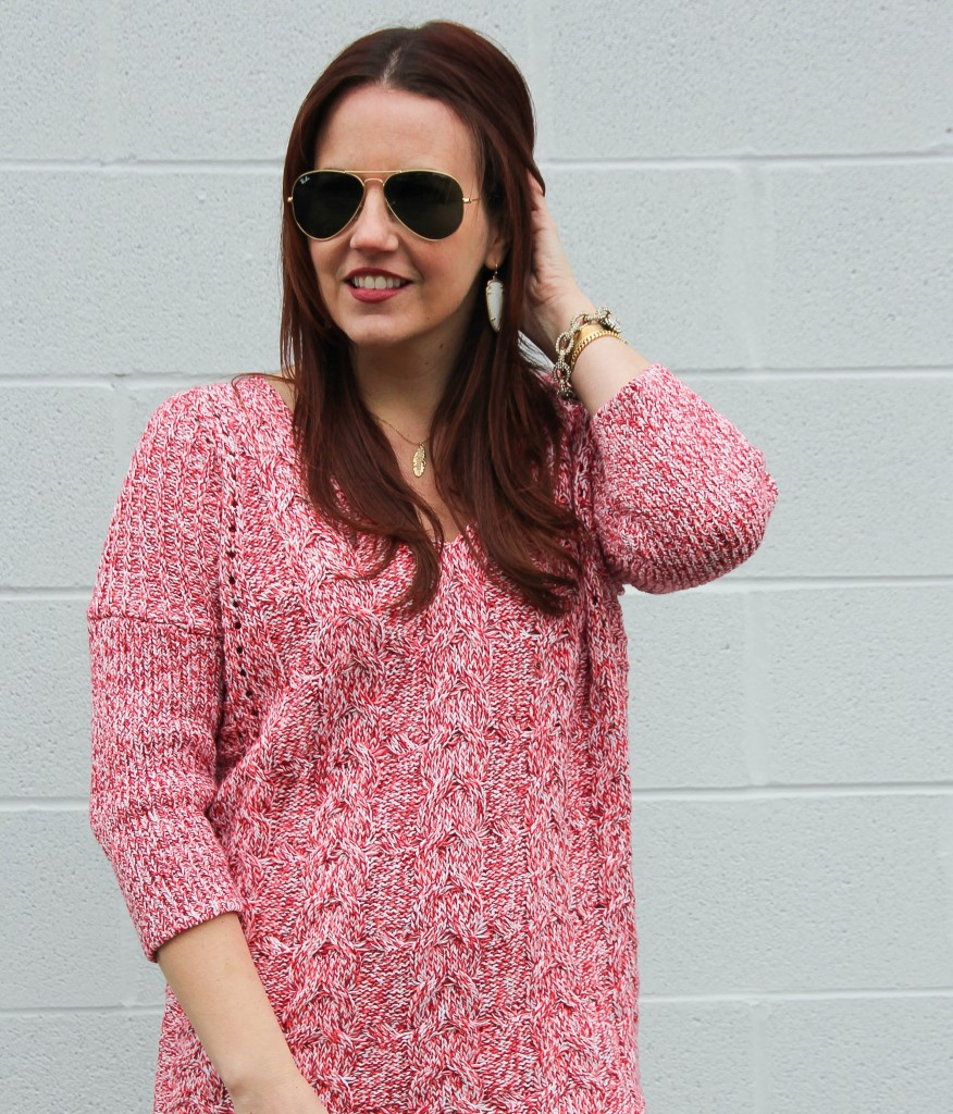 Red Chunky Knit Sweater | Lady in Violet
