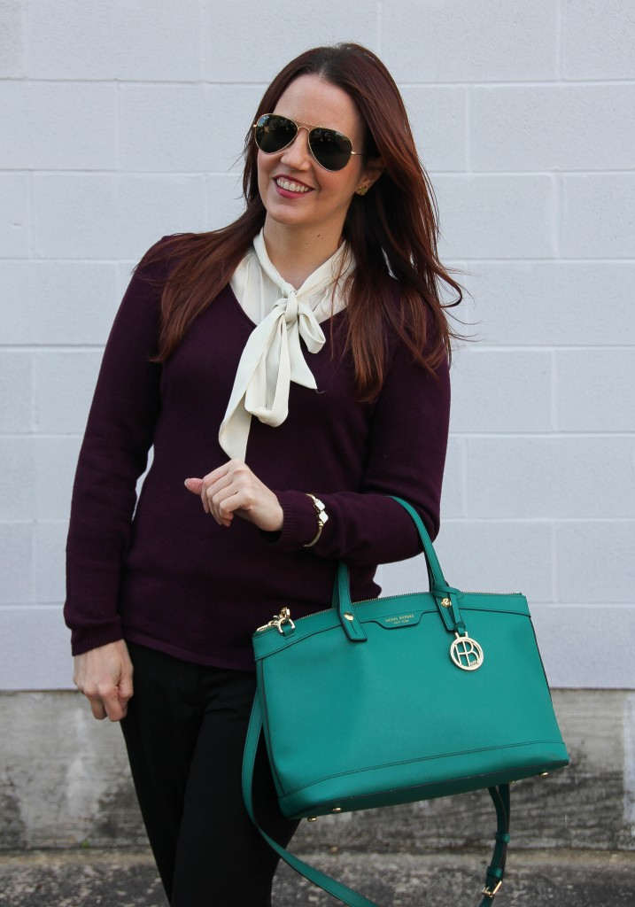 Tie Neck Blouse and VNeck Sweater | Lady in Violet