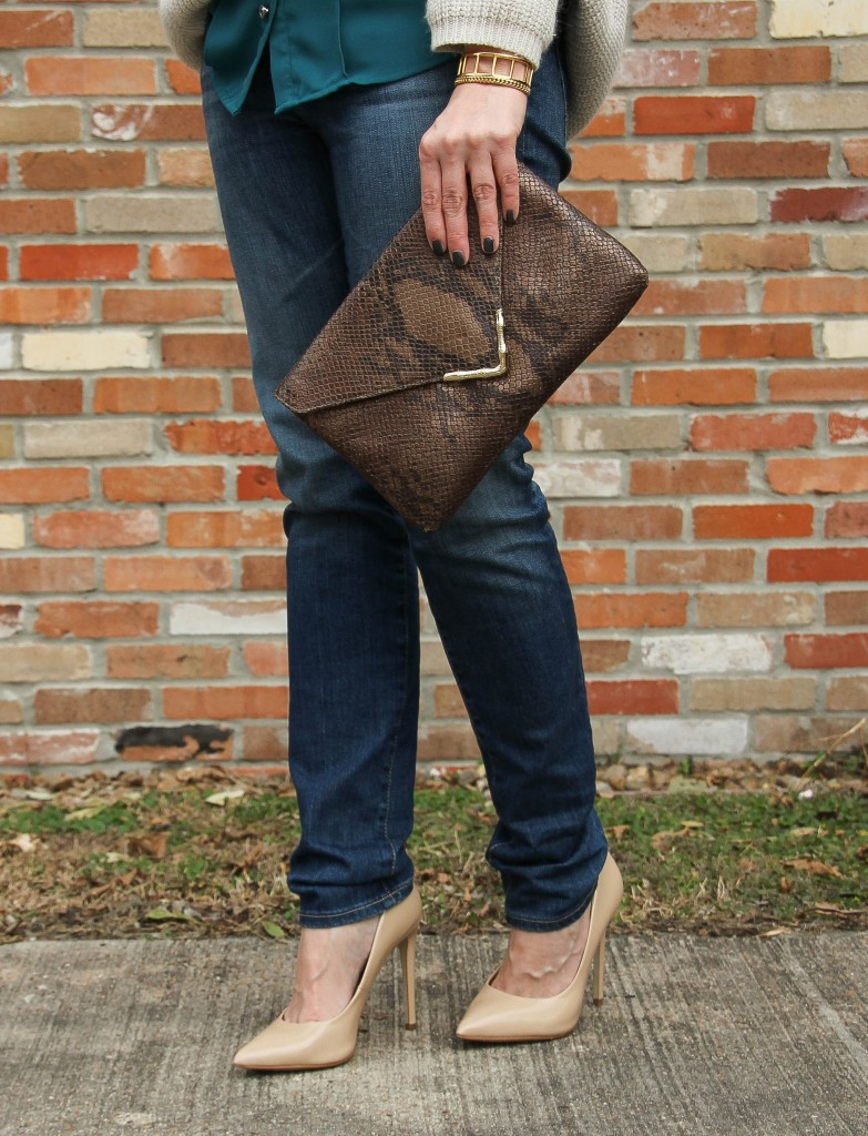 AG Jeans, Elaine Turner Bella Clutch and Steve Madden Heels | Lady in Violet