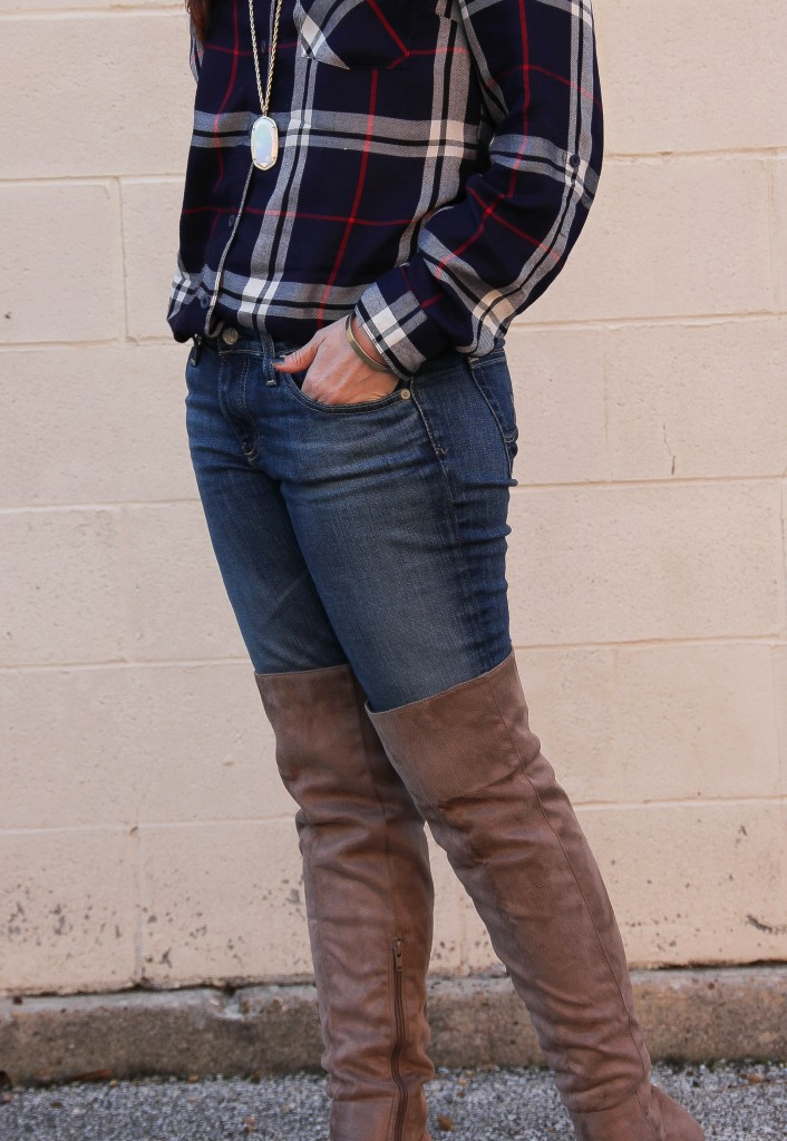 AG Jeans with over the knee boots | Lady in Violet