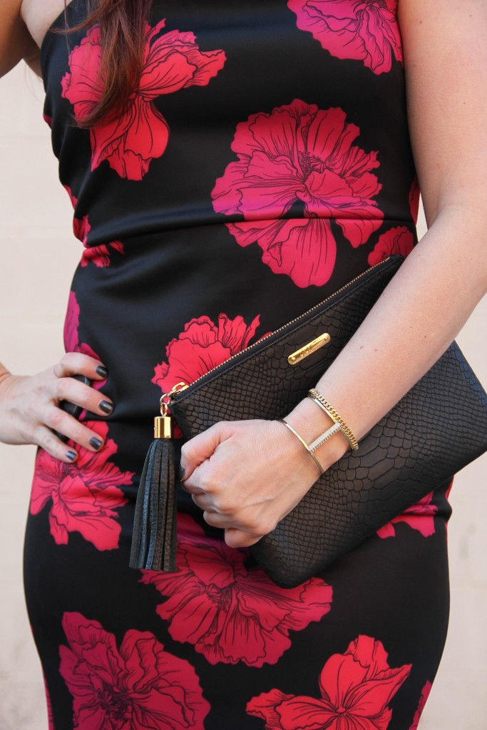 Black Clutch and Gold Baublebar bracelets | Lady in Violet