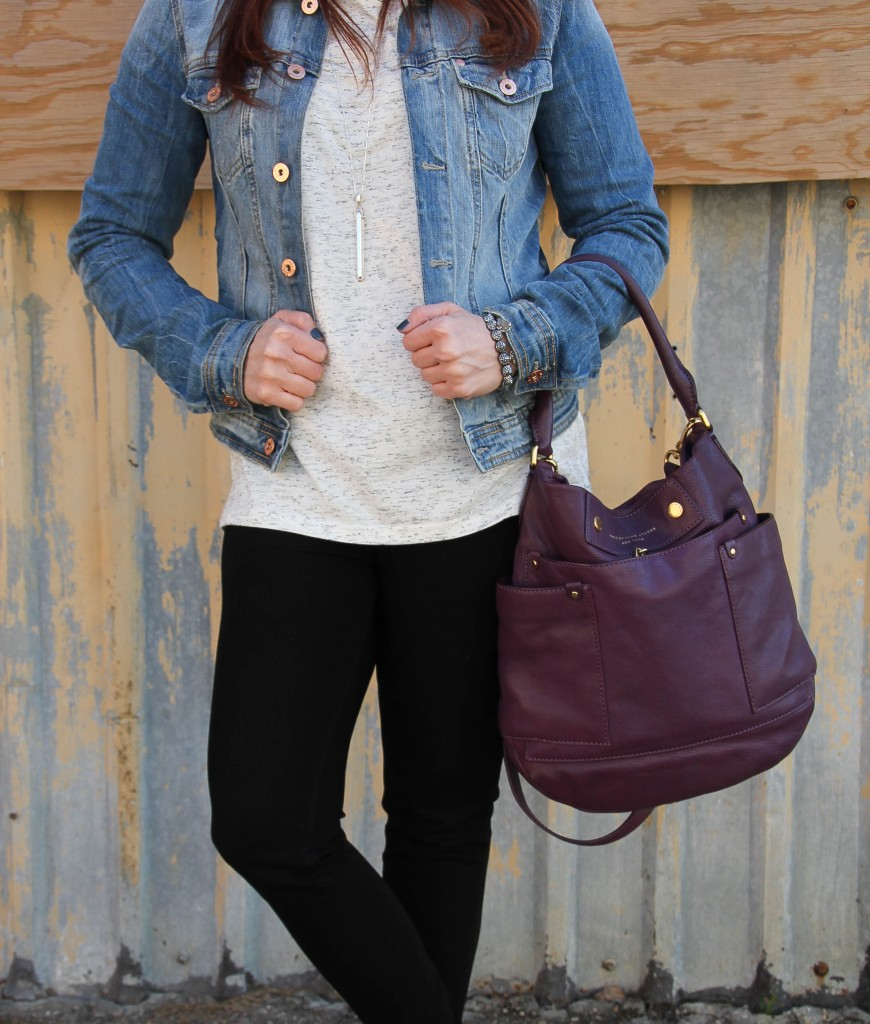 Casual Outfit with denim jacket and long sleeve tee | Lady in Violet