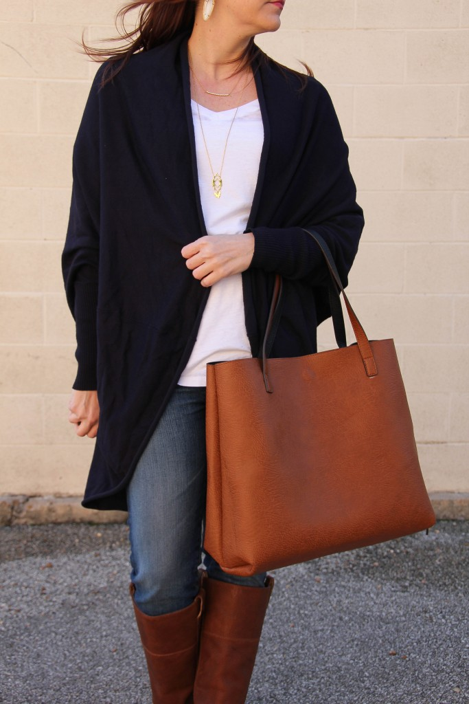 Fall Outfit Idea - Cardigan White Tee and boots | Lady in Violet