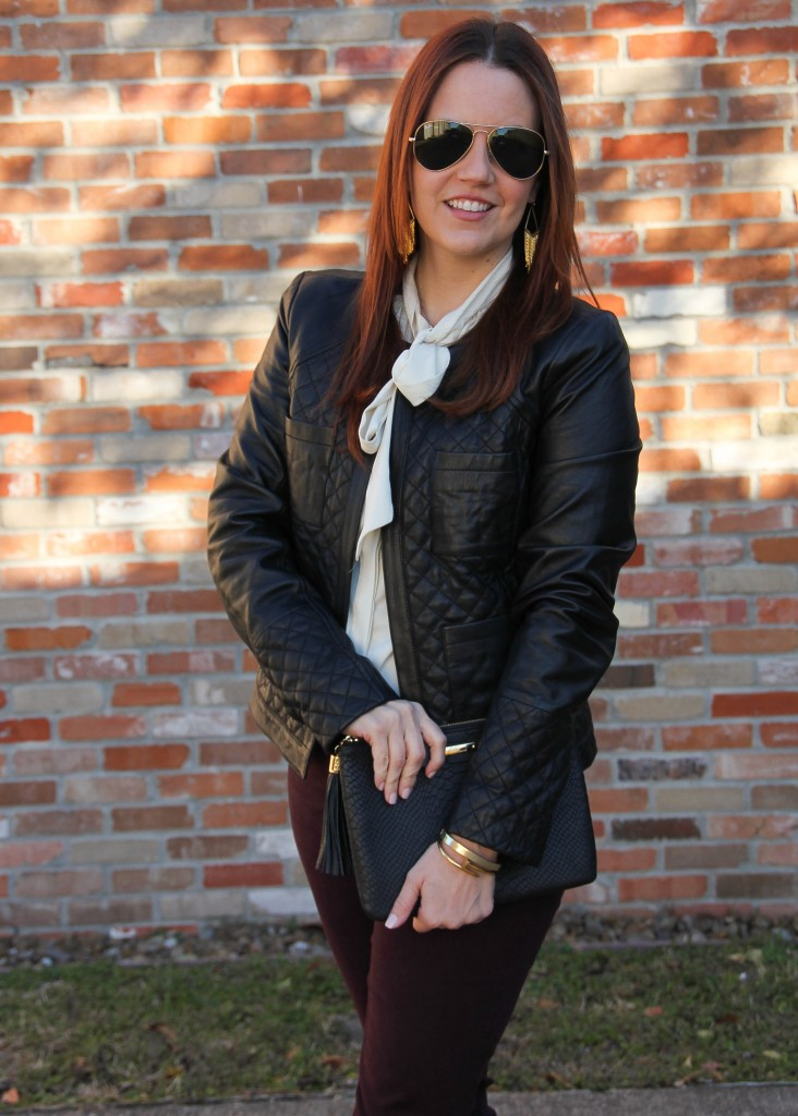 Tie Neck Blouse and Leather Jacket - Winter Outfit Idea | Lady in Violet