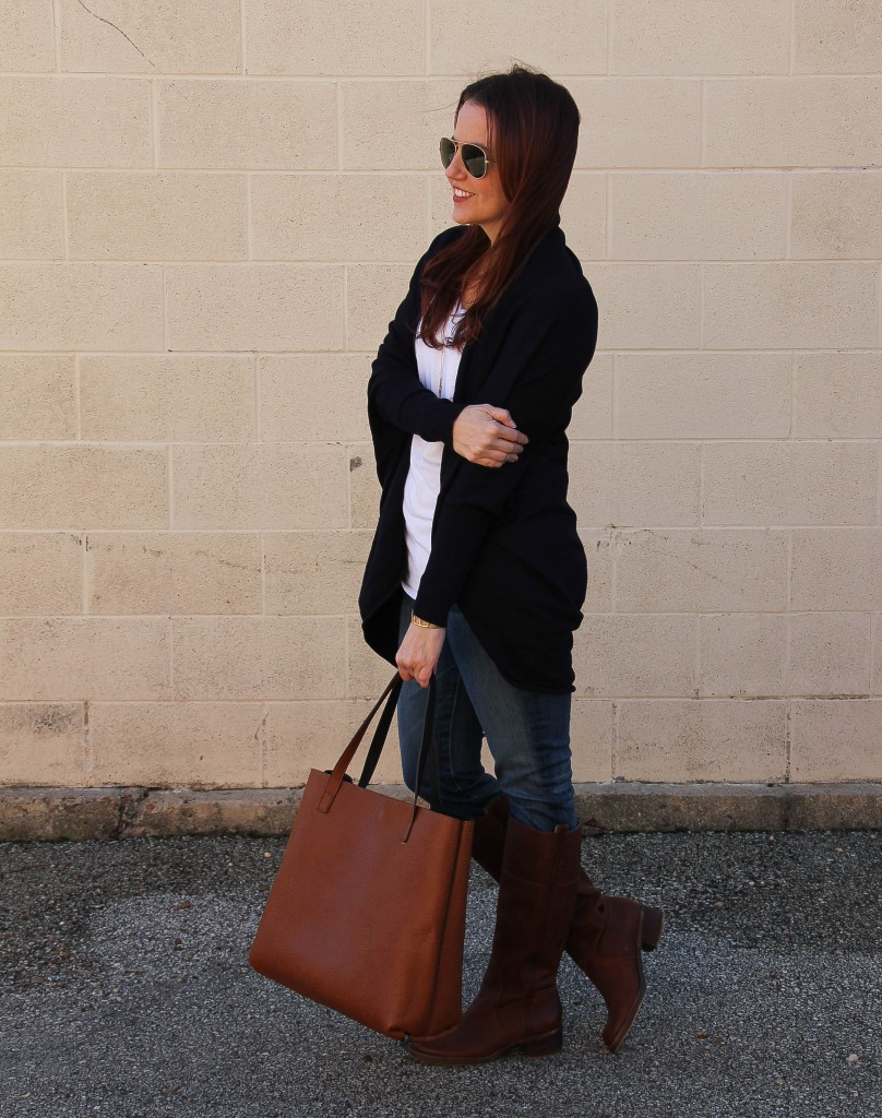 Weekend Outfit - Cardigan, Jeans and Riding Boots | Lady in Violet