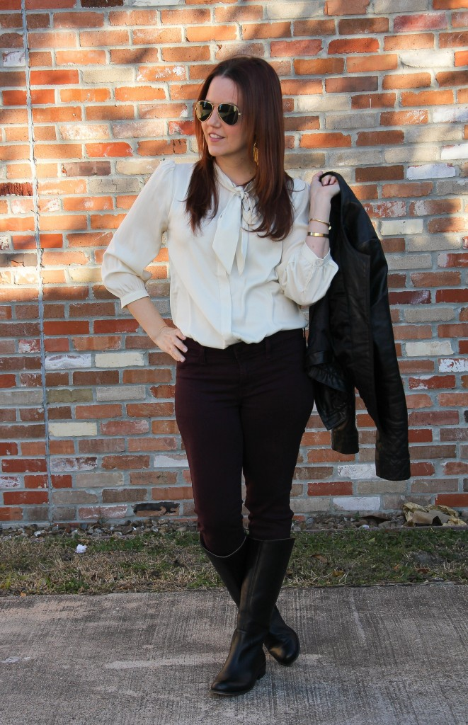 Valentine's Date Night Outfit - Skinny Jeans and Tie Neck Blouse | Lady in Violet