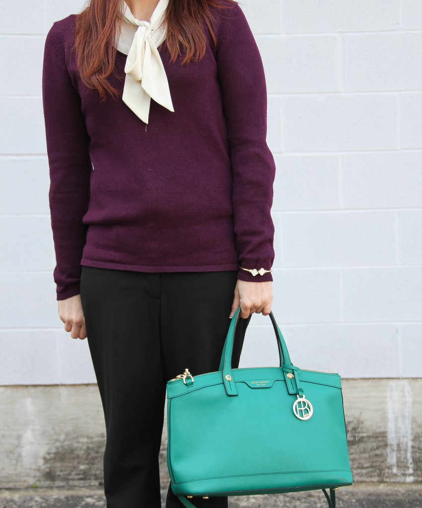Henri Bendel West 57th satchel and Old navy sweater | Lady in Violet