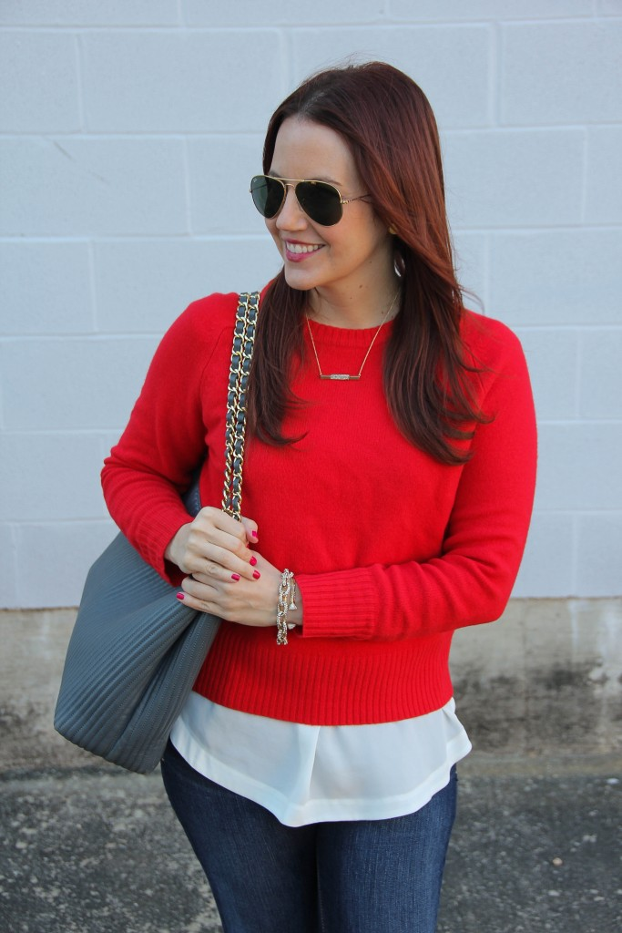 JCrew Red Sweater, Popover top and Henri Bendel Tote | Lady in Violet