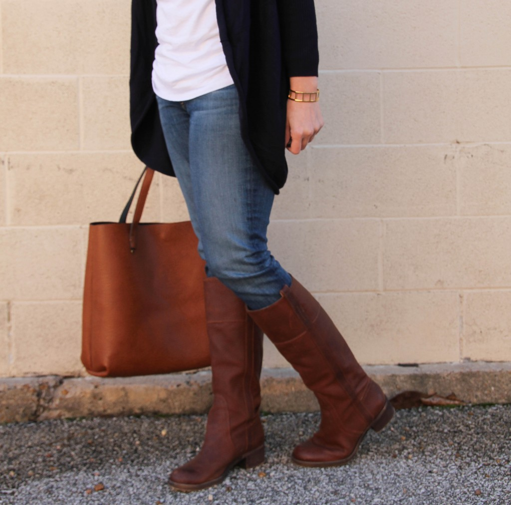 Lucky Brand Heloisse Riding Boots and Big Tote Bag | Lady in Violet