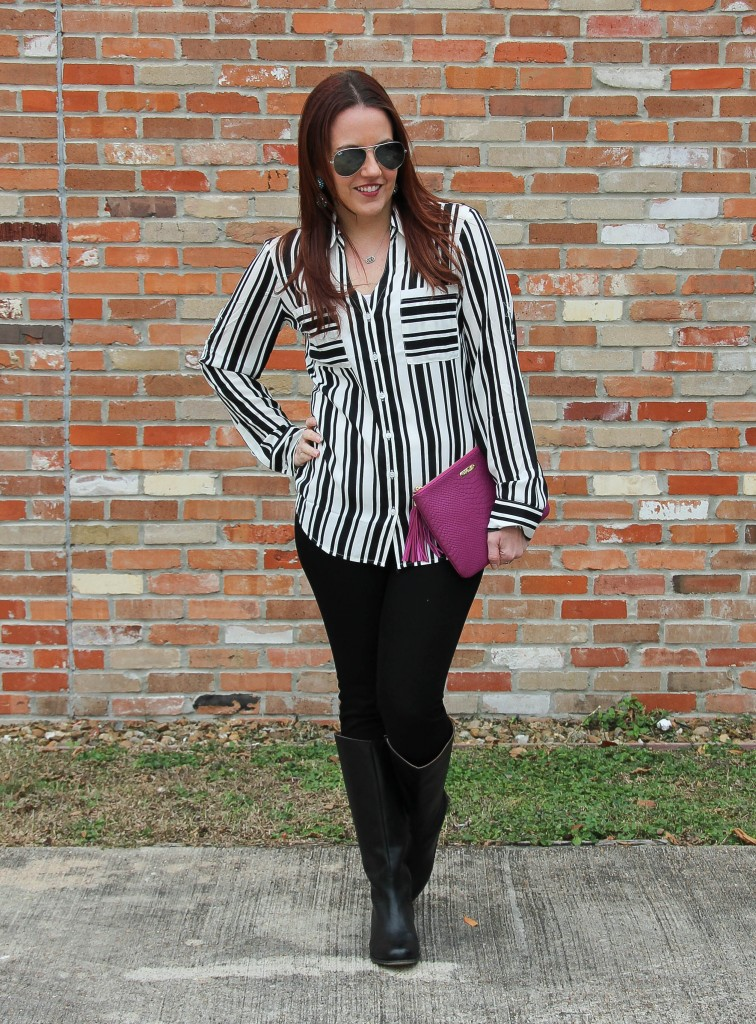 Winter Outfit - Striped Blouse and Skinny Jeans with boots | Lady in Violet