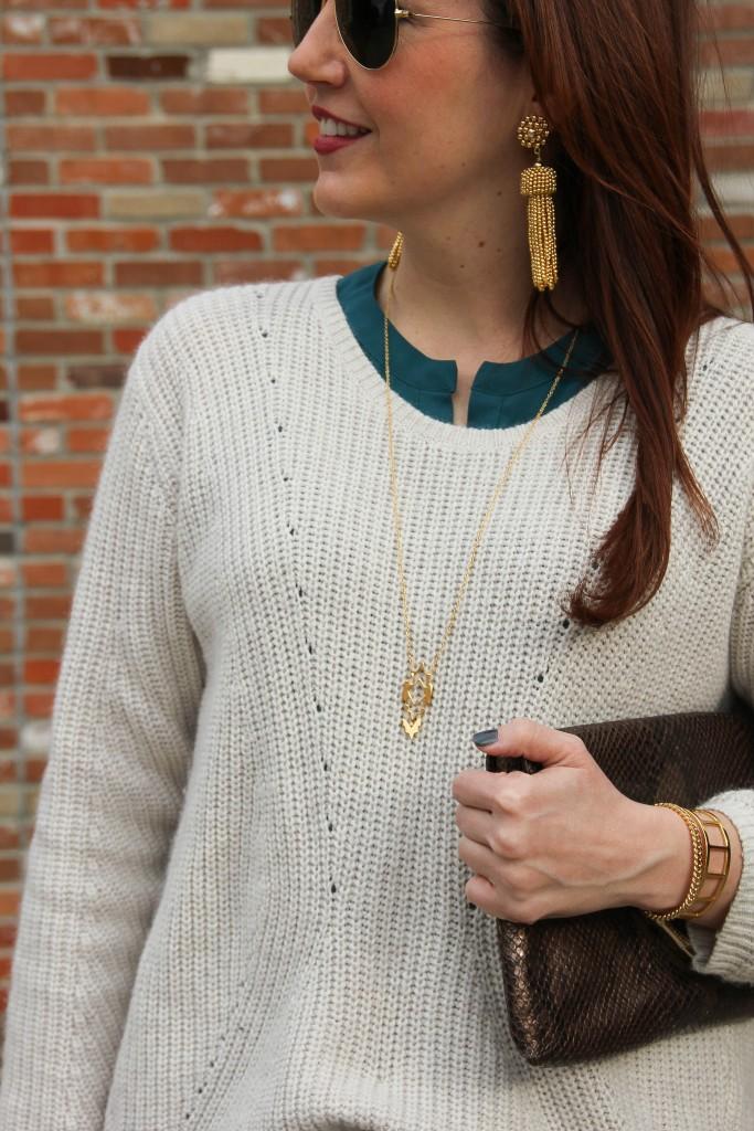 Gold Jewelry - Gorjana Pendant Necklace, Baublebar bracelets and Lisi Lerch Tassel Earrings | Lady in Violet