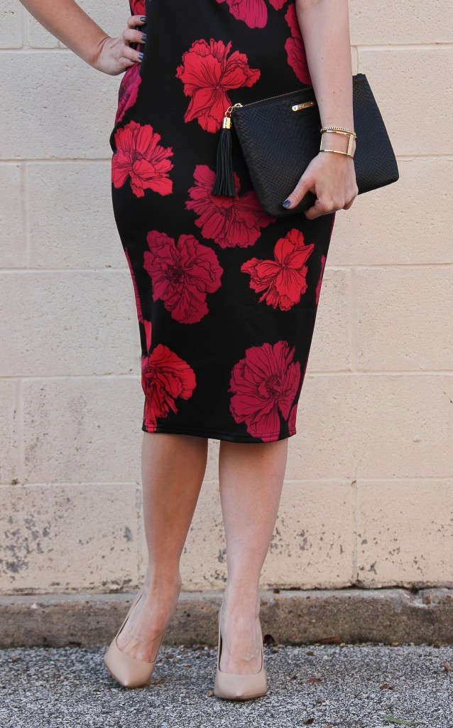 Midi Dress with Nude Pump | Lady in Violet