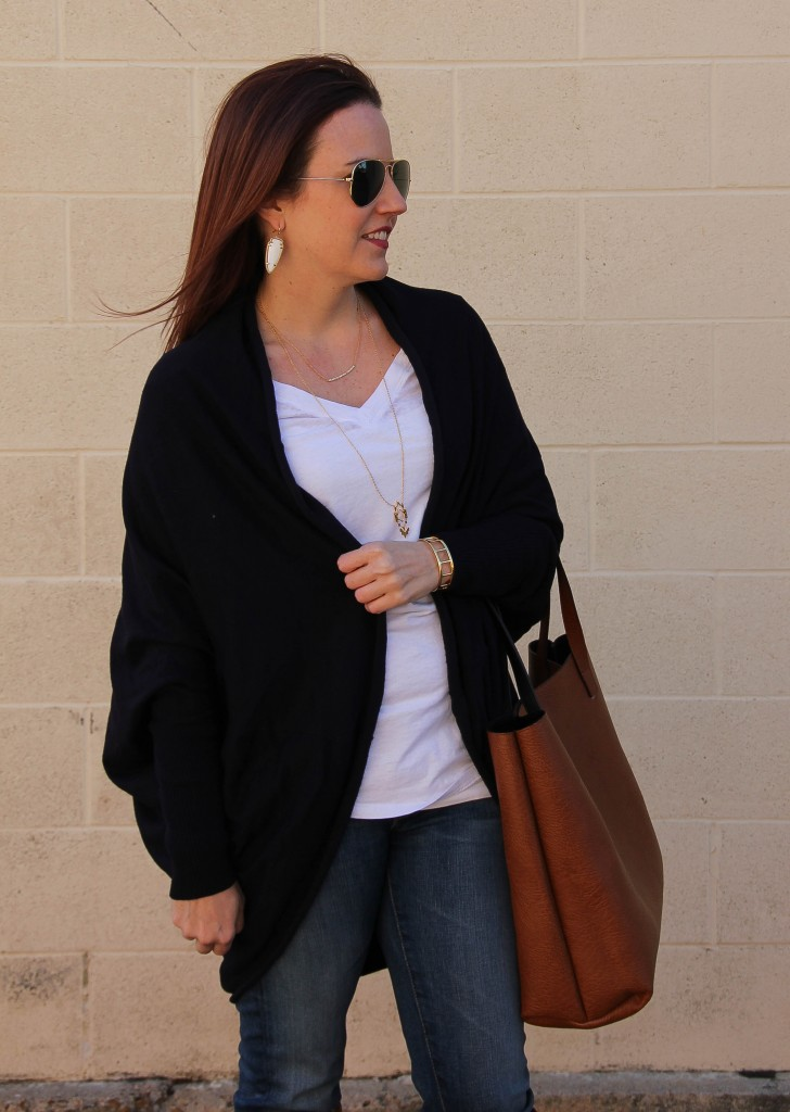 Navy Cocoon Cardigan and Stem Tee | Lady in Violet